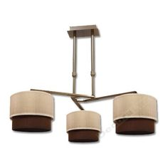 Lámpara moderna cuero 3 pantallas arena marrón