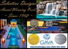 Swimming Pool Designs, Swimming Pools, Pool Contractors, Custom Pools, Pool Builders, Design Awards, Atlanta, Spa, World