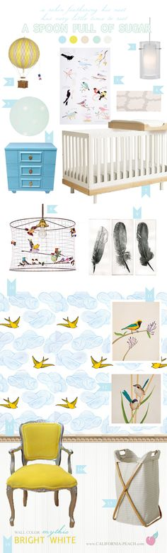 California Peach: A Spoon Full of Sugar | Nursery -- Girl, Yellow, Blue, White, Birds, Sparrows, Sparrow, Oeuf, Pendant, Hot Air Balloon, Hamper, Bird Cage Chandelier, Wallpaper, Wall Decals, Baby Room, Nursery, Style Board, Mythic Paint, Oeuf, Crib, Non-Toxic, Green 0VOC, Eco Friendly, Organic