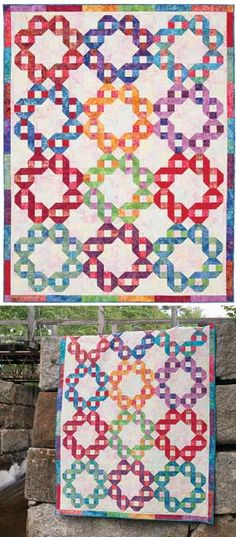 """RIBBON RINGS QUILT PATTERN by Marilyn Foreman.  It would be easy to piece.  Pattern has different size quilts and various settings for the block.  The block appears to be 10"""" with four of the blocks set together to make the above circle setting."""