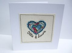Personalised Wedding Card with Machine Embroidered by Nikelcards