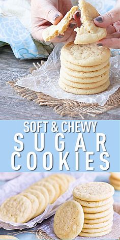 The Best Soft and Chewy Sugar Cookies - a must-have recipe for any good sugar cookie fan! These cookies require no chilling, they're quick and easy to make, buttery and full of vanilla, and wonderfully soft and chewy for DAYS! Chewy Sugar Cookies, Sugar Cookies Recipe, Cookies Et Biscuits, Vanilla Cookies, Cookies Soft, Cream Cookies, Homemade Sugar Cookies, Brownie Cookies, Cookie Recipes