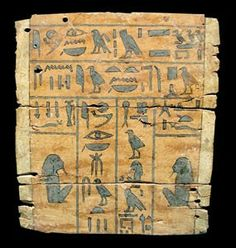 Middle Kingdom wooden panel from a Sarcophagus featuring Heiroglyphic Text 2040 to 1640 B.C.