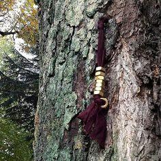 Bracciale in jersey con dadi in ottone #bracelet #jersey #nuts #brass #rockstyle #fall #autumn #etsy