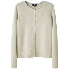 A.P.C. Classic Cardigan (€130) ❤ liked on Polyvore featuring tops, cardigans, sweaters, outerwear, women, roll top, long sleeve tops, crew neck cardigan, relaxed fit tops and long sleeve cardigan