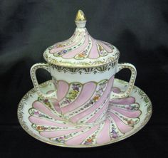 Dresden Lidded cup and saucer in Pink and white- with two handles on cup