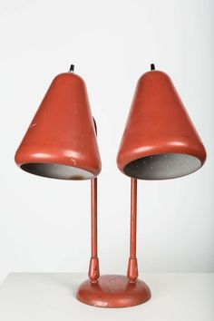 Kurt Versen; Enameled Steel and Aluminum Table Lamp, c1950.