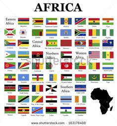 Flags of Africa- complete set of flags in original colors over white background All World Flags, World Country Flags, Countries And Flags, Countries Of The World, African Countries Names, Flag Of Europe, Flags With Names, African American Literature, Continents And Oceans