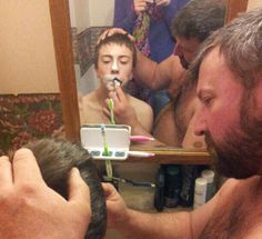 Chance's first shave...How tender is this moment between a father  his son?!!