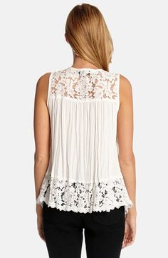 Love this Lace Top! Awesome Design! Love the Fabric!  White Lace Inset Crinkle Tank Top @Nordstrom