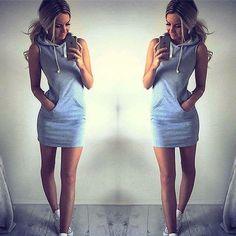 Hoodie Short Shirt Mini Dress - Crystalline