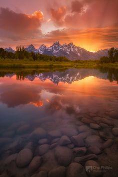 Schwabacher Sunset, Grand Teton National Park. Wyoming, United States. #MountainSunset