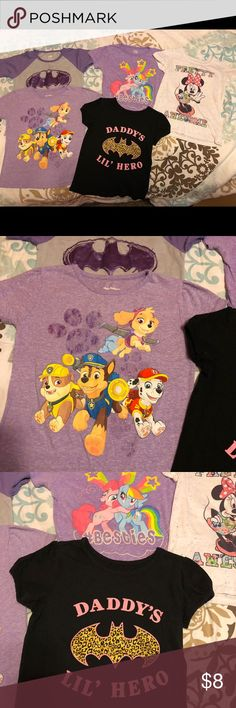 Girls 4T tee shirts Girls character shirts. My little pony, paw patrol, batman, and Minnie mouse. All shirts worn a few times and in good condition. Total price is for all 5 shirts. Shirts & Tops Tees - Short Sleeve