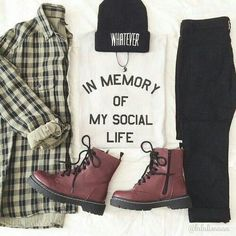"""This outfit is really just so perfect for any girl who just doesn't care. That """"I don't give a crap"""" vibe is really in right now, as well as any printed tees, tanks, and can we talk about these Doc Martens? Yessss."""