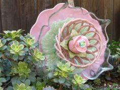 Plate Flower. #285 Drought Resistant. Garden Yard Art glass and ceramic plate flower