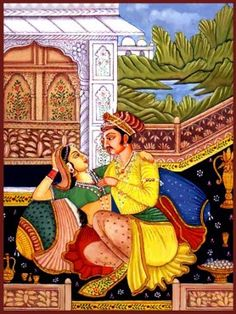 This Mughal painting captures our imagination. Two lovers in an intimate pose on a terrace is a recurring theme in many Mughal paintings  reflecting the colorful lifestyle of the royals. The romanticism along with the luxurious ,rich yet tasteful surroundings transport us to that royal era .