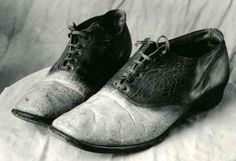 """Shoes made from the skin of gangster """"Big Nose"""" George Parrot, 1881. The top of Parrot's skull was given to 15-year-old Lilian Heath (later the first female doctor in Wyoming) who used it as an ashtray, and other sheets of his skin were made into a medical bag. The shoes were worn by John Eugene Osborne at his inaugural ball as the first Democratic Governor of the State of Wyoming. ew."""