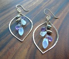 Dusk Earrings Gem Cluster Chandelier Hoops with Moonstone, Pearl and Chalcedony