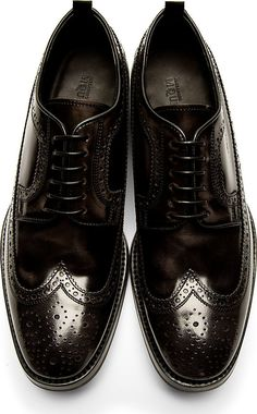 Alexander McQueen - Black Leather Longwing Brogues | SSENSE #shoes #black #leather #menstyle