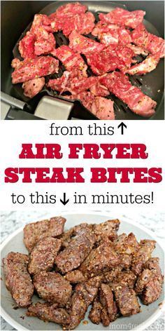 air fryer recipes These juicy and flavor filled Air Fryer Steak Bites taste just like theyve been cooked on the grill or in a cast iron skillet, and make the perfect addition to a hearty meat and potatoes meal or a delicious and healthy salad! Air Frier Recipes, Air Fryer Oven Recipes, Air Fryer Dinner Recipes, Air Fryer Recipes Potatoes, Air Fryer Recipes Ground Beef, Recipes Dinner, Lunch Recipes, Air Fryer Chicken Recipes, Air Fryer Potato Chips