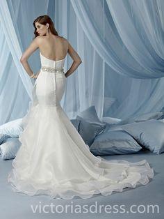 015 Style Trumpet/Mermaid Sweetheart Court Train Organza Wedding Dresses