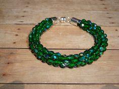 Kumihimo Beaded Bracelet in Green on Etsy, $26.00