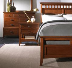 modern shaker bedroom furniture set. shown in natural cherry wood