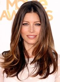 med natural brown roots with honey and bronze colored highlights.  love this!