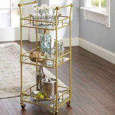 Reduce Armando 3 Tier Square Bar Cart by Mistana Plywood Furniture, Bar Furniture, Furniture Shopping, Style At Home, Hollywood Regency, Kitsch, Bar Sala, Gold Bar Cart, Bar Cart Decor