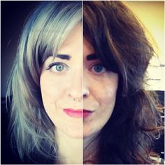 The difference a day, a little magic, & a great colorist can make. #silverfox #greyhair #dyejob #love @klr79