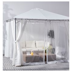 LAPPÖN Net for gazebo, white. The net creates a cosy space in the room without completely shutting out the surroundings and also provides some protection from flying insects. Easy to mount on your gazebo with the included straps. Wall Spaces, Living Spaces, Timber Roof, Outdoor Gazebos, Screened In Patio, Parasol, Pergola Designs, Present Day, Craft Sale