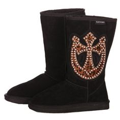 Katydid Leopard Horseshoe Cross Genuine Leather Boots (9) -- Awesome products selected by Anna Churchill