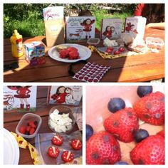 STRAWBERRIES AND BLUEBERRIES Ladybug Girl & ladybug theme food. Norah loves these books and so do I!!