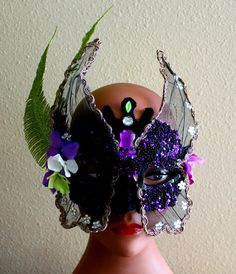 Masquerade Mask Woodland Fairy Nymph Mardi Gras by Botanicalgems, $50.00