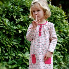 long sleeve girls dress with polka dot pockets by SchoolHouseFrock, $51.00