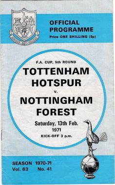 Vintage Football (soccer) Programme - Tottenham Hotspur v Nottingham Forest, FA Cup, 1970/71 season #football #soccer #tottenham #spurs