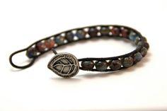 Beaded Leather wrap bracelet fire polished Czech Glass beads bohemian style by Bent Tree Crafts, $35.00