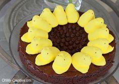 Sunflower-Peeps-Brownie Dessert - Oh My! Creative