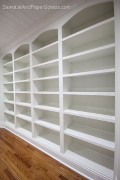 Library: Built-Ins and Wainscoting - Sawdust & Paper Scraps : DIY Library with White Built-ins – fixed and adjustable shelves, built with MDF, base to frame columns Home Library Design, Shelves, Home, Bookshelves, Wood Closet Shelves, White Built Ins, Wainscoting, Adjustable Shelving, Home Library