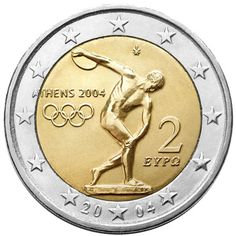 Detailed image and information about 2 euro coin Summer Olympics in Athens 2004 from Greece issued in The coin is part of series Commemorative 2 euro coins. Visit the best collector and commemorative coin website: The Collector Coins. 2004 Olympics, Summer Olympics, Euro France, Piece Euro, Constellations, Euro Coins, Coin Art, Gold And Silver Coins, Greece
