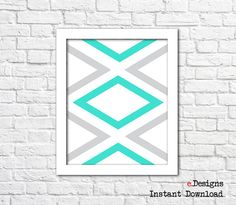 Printable Geometric Wall Art Blue Wall Decor by eDesignss on Etsy Turquoise Wall Decor, Grey Wall Decor, Turquoise Walls, Pink Walls, Grey Walls, Geometric Wall Art, Pink Grey, Printables, Unique Jewelry
