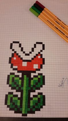 Plante carnivore mario en pixel - Another! Graph Paper Drawings, Graph Paper Art, Art Drawings, Faire Du Pixel Art, Pixel Art Minecraft, Modele Pixel Art, Pixel Drawing, Perler Bead Art, Perler Patterns