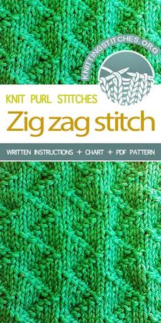 Knitting Stitches -- Nice textured stitch for a scarf. Knit Zig Zag Stitch (Zick Zack Stitch). #knittingstitches #knittingpattern