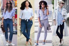 Como usar: Camisa listrada de azul e branco | Just Lia