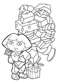 doras christmas presents coloring page