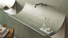Lavabo sospeso SKIN by Lago design Daniele Lago Il lavabo Skin è disponibile con rivestimento a mosaico o in resina.  Lago S.p.A.  Villa del Conte (PD) / Italia larghezza min.73,6 max 110,4  profondit 46