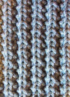 Mistake rib knit stitch -- lies flat, so it's good for scarves.