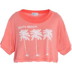 WILDFOX Surf Beach Crop Top (135 AUD) ❤ liked on Polyvore featuring tops, shirts, crop tops, t-shirts, pattern shirts, wildfox, wildfox shirt, summer crop tops and print shirts