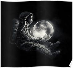 'Moon Play' Poster by nicebleed Space Artwork, Space Drawings, Wallpaper Space, Dark Wallpaper, Galaxy Wallpaper, Wallpaper Backgrounds, Wallpapers, Foto Fantasy, Fantasy Art