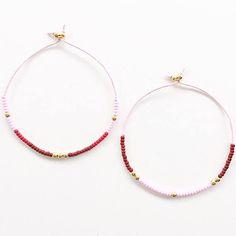Gold Bracelet, Pink Bracelet, Seed Bead Bracelet, Adjustable Bracelet, Cord Bracelet, Friendship Bracelet, Stacking Bracelet Set
